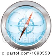 3d Blue And Chrome Compass