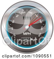 Clipart 3d Black Blue And Chrome Speedometer Royalty Free Vector Illustration
