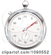 Clipart 3d Silver Stop Watch Royalty Free Vector Illustration by michaeltravers