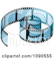 Clipart Transparent Blue Coiled Film Strip Royalty Free Vector Illustration