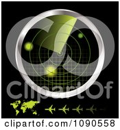Clipart 3d Green And Chrome Airplane Radar Monitor With A Map And Planes On Black Royalty Free Vector Illustration by michaeltravers