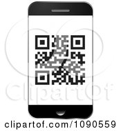 Clipart QR Code On A Smart Phone Screen Royalty Free Vector Illustration by michaeltravers