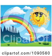 Clipart Happy Summer Sun Looking Under Shades By A Rainbow Royalty Free Vector Illustration