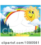 Clipart Happy Summer Sun By A Rainbow Frame Royalty Free Vector Illustration