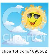 Clipart Happy Summer Sun With Shades And Clouds Royalty Free Vector Illustration