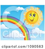 Clipart Happy Summer Sun By A Rainbow In The Sky Royalty Free Vector Illustration