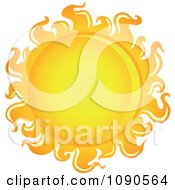 Clipart Hot Yellow And Orange Sun Royalty Free Vector Illustration