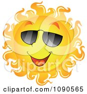Clipart Smiling Summer Sun With Shades Royalty Free Vector Illustration