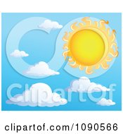 Clipart Hot Yellow And Orange Sun In A Cloudy Sky Royalty Free Vector Illustration