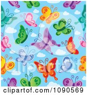 Seamless Colorful Butterfly And Blue Sky Background