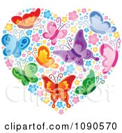 Clipart Heart Made Of Colorful Butterflies And Blossoms Royalty Free Vector Illustration