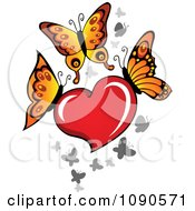 Clipart Red Heart With Butterflies Royalty Free Vector Illustration