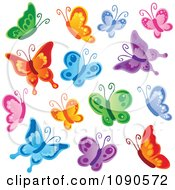 Clipart Bunch Of Colorful Butterflies In Flight Royalty Free Vector Illustration