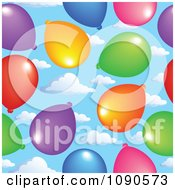 Clipart Seamless Colorful Party Balloon And Sky Background Royalty Free Vector Illustration