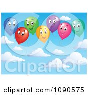 Clipart Colorful Happy Party Balloons In A Cloudy Sky Royalty Free Vector Illustration