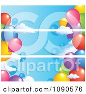 Clipart Three Party Balloon Banners That Seam Together Royalty Free Vector Illustration