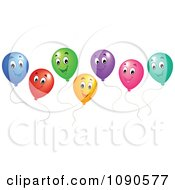 Clipart Colorful Floating Party Balloons Smiling Royalty Free Vector Illustration