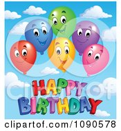 Clipart Colorful Floating Party Balloons Smiling Over Happy Birthday Against A Sky Royalty Free Vector Illustration by visekart