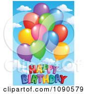 Clipart Colorful Party Balloons Over Happy Birthday Against A Sky Royalty Free Vector Illustration by visekart