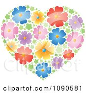 Clipart Heart Made Of Colorful Blossoms Royalty Free Vector Illustration
