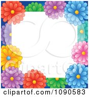 Clipart Frame Of Colorful Daisy Flowers With White Copyspace Royalty Free Vector Illustration