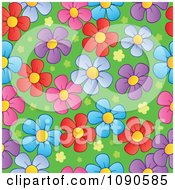 Clipart Seamless Colorful Daisy And Grass Background Royalty Free Vector Illustration