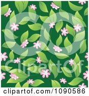 Clipart Seamless Pink Blossom Leaves And Green Background Royalty Free Vector Illustration