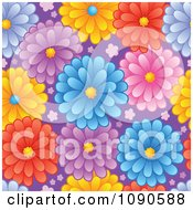 Clipart Seamless Colorful Daisy And Purple Background Royalty Free Vector Illustration