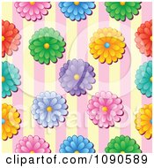 Clipart Seamless Colorful Daisy And Yellow And Pink Stripes Background Royalty Free Vector Illustration