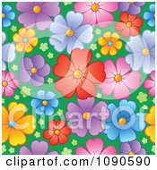 Clipart Seamless Colorful Blossom And Grass Background Royalty Free Vector Illustration