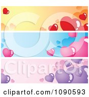 Clipart Orange Blue And Purple Valentine Heart Website Banners Royalty Free Vector Illustration by visekart