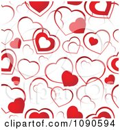 Seamless Background Of Red And White Hearts
