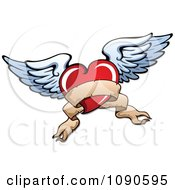 Parchment Banner Red Heart With White Wings