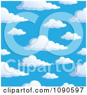 Clipart Seamless Colorful Puffy Cloud And Blue Sky Background Royalty Free Vector Illustration