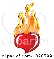 Clipart Red Heart With Orange Flames Royalty Free Vector Illustration