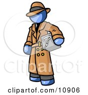 Secretive Blue Man In A Trench Coat And Hat Carrying A Box With A Question Mark On It Clipart Illustration