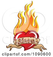 Clipart Love Banner Red Heart With Orange Flames Royalty Free Vector Illustration by visekart