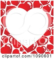 Clipart White Heart Over A Red Pattern Background Royalty Free Vector Illustration