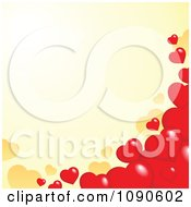 Clipart Red Heart Border Over Yellow Copyspace Royalty Free Vector Illustration