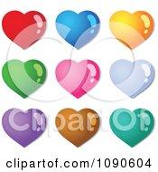 Clipart Nine Colorful Shiny Hearts Royalty Free Vector Illustration
