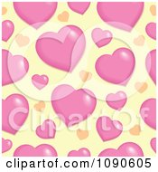Clipart Seamless Pink And Yellow Heart Background Royalty Free Vector Illustration