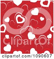 Clipart Seamless Red And White Heart Background Royalty Free Vector Illustration
