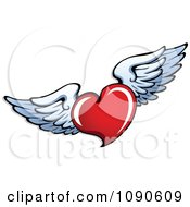Clipart Red Heart With White Wings Royalty Free Vector Illustration