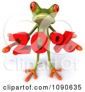 Clipart 3d Green Springer Frog Holding A Red 20 Percent Royalty Free CGI Illustration