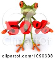 Clipart 3d Green Springer Frog Holding A Red 50 Percent Royalty Free CGI Illustration