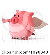 Clipart 3d Pookie Pig Angel Pointing Left Royalty Free CGI Illustration by Julos