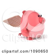 Clipart 3d Pookie Pig Angel Facing Right Royalty Free CGI Illustration by Julos