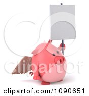 Clipart 3d Pookie Pig Angel With A Sign 4 Royalty Free CGI Illustration by Julos