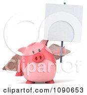 Clipart 3d Pookie Pig Angel With A Sign 3 Royalty Free CGI Illustration