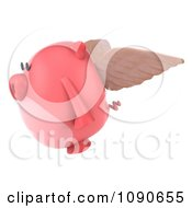 Clipart 3d Pookie Pig Angel Flying 2 Royalty Free CGI Illustration